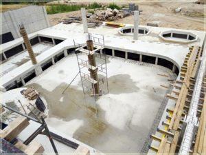 widok nakonstrukcje budynku podczas wznoszenia