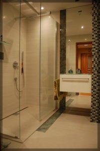 duży prysznic zeszklanymi ścianami